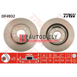 Predné kotúče, sada /výrobca TRW/-  294mm